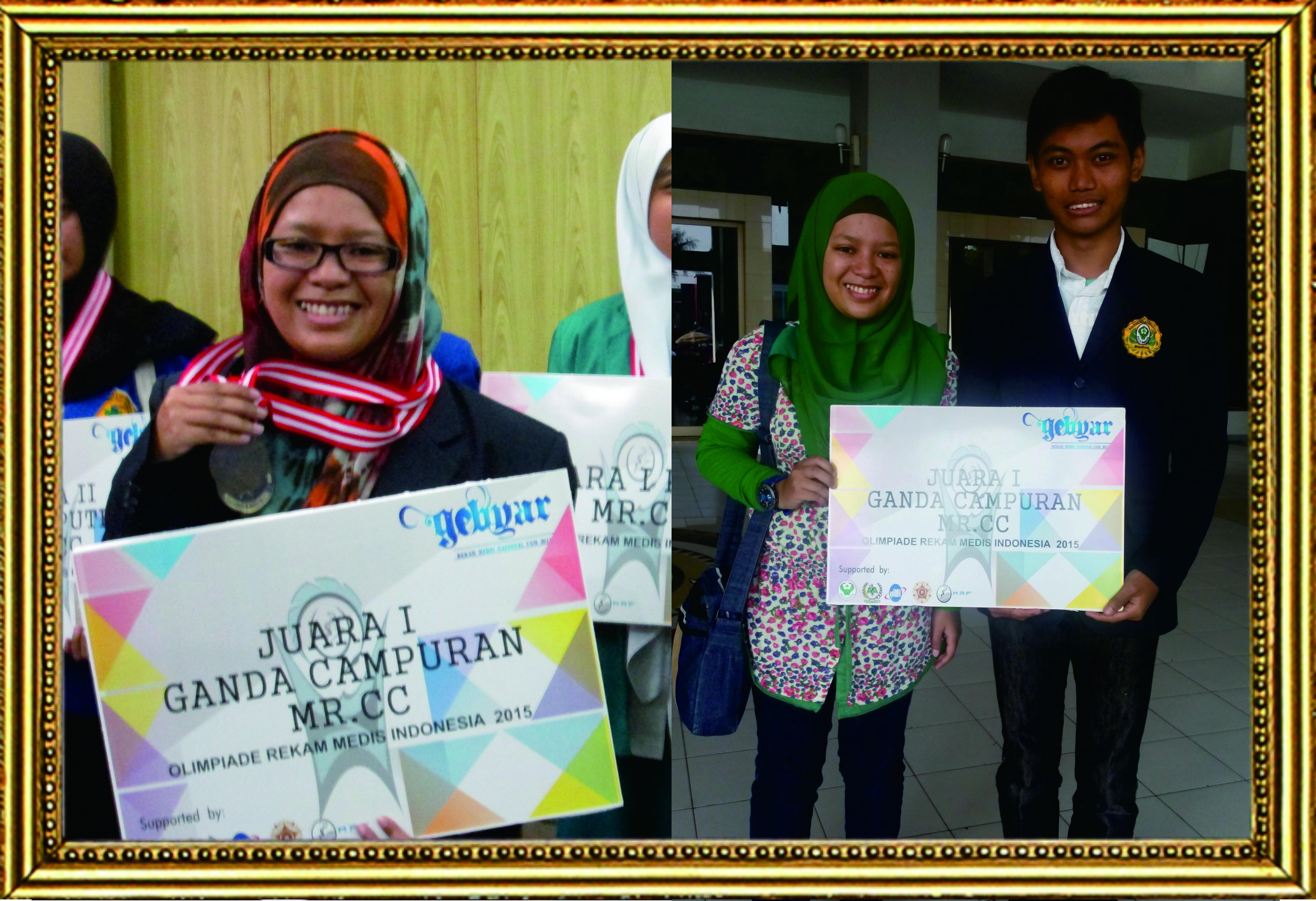 Juara 1 Ganda Campuran Medical Record Coding Competition (MR.CC) Olimpiade Rekam Medis INdonesia (ORI) 2015
